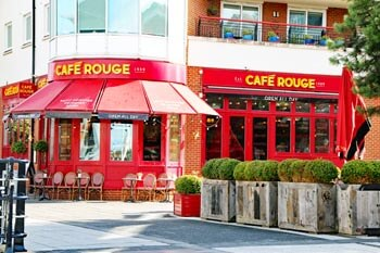 Cafe Rouge Restaurant at Gunwharf Quays in Portsmouth