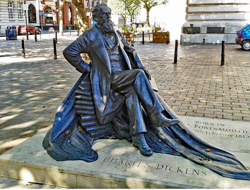 Charles Dickens statue at Guildhall Square, Portsmouth