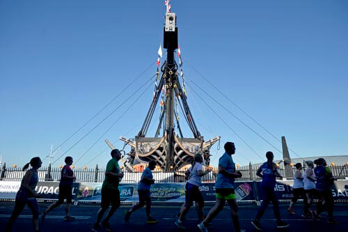The Great South Run passes through Portsmouth's Historic Dockyard