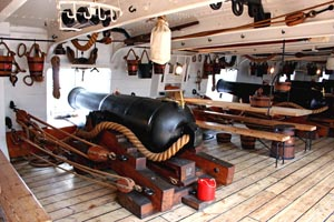 View of the gun deck and canons of HMS Warrior