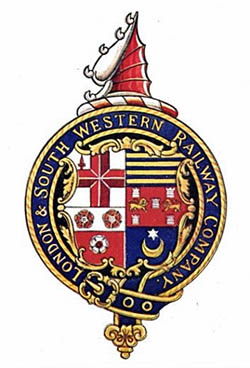 LSWR logo featuring Portsmouth coat of arms, the Star and Crescent