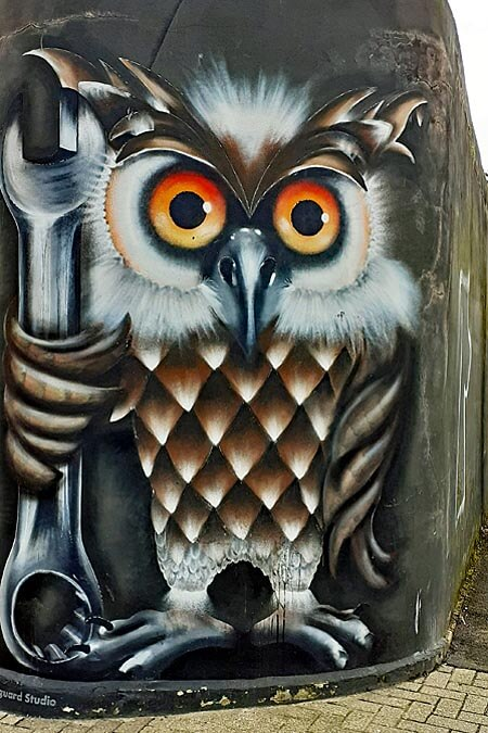 Southsea street art, Owl at Richmond Road