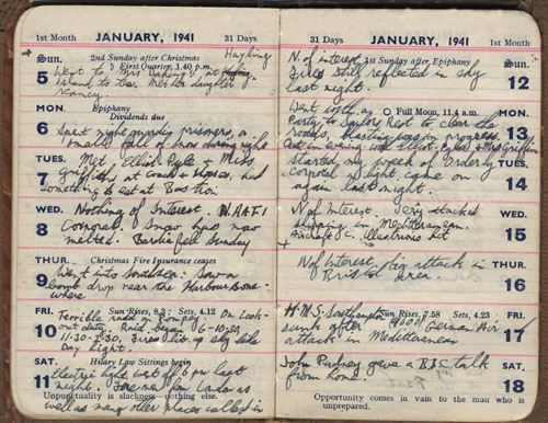 Photo of John Welch's diary entries commencing 5th January 1941
