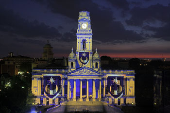 Images projected onto Portsmouth Guildhall