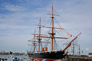HMS Warrior at the Historic Portsmouth Dockyard.
