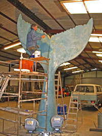 Photo of the Whales Tail sculpture, by Richard Farrington under construction.